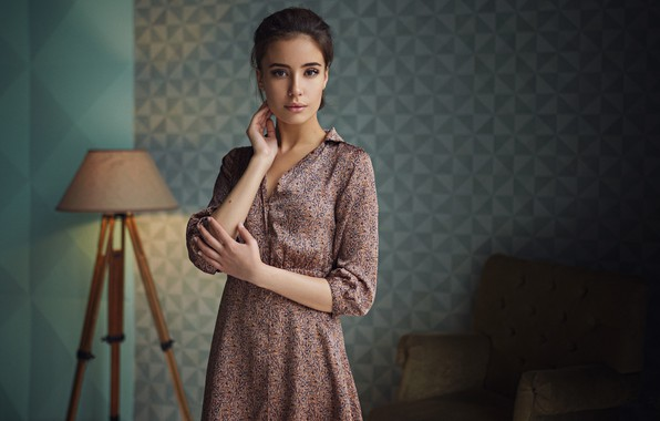 Picture look, pose, portrait, hands, dress, floor lamp, Sergey Fat, Sergey Zhirnov, Eve Ribs