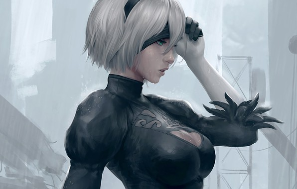 Picture face, hair, dress, black, lips, white, black, android, dress, eye patch, lips, face, fan-art, silver, …