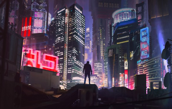 Picture Night, The city, Future, Neon, People, Building, Art, Art, Neon, Cyberpunk, Cyberpunk, by Alexander Dudar, …