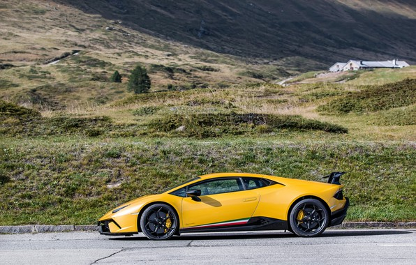 Picture lamborghini, side, yellow, view, performante, huracan