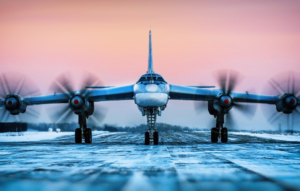 Picture Winter, The plane, Bear, USSR, Russia, Engines, Aviation, BBC, Bomber, Tupolev, The plane, Tu-95MS, Bear, ...