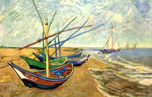 Picture brick, boats, pier, sails, Vincent van Gogh, Fishing Boats, at Saintes-Maries, the shore, on the …