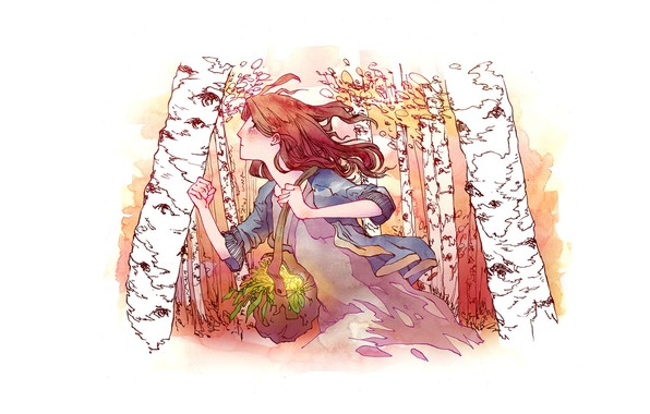 Picture the wind, red, bag, runs, grass greens, runs, in profile, birch grove
