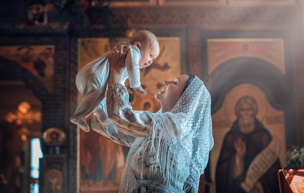 Picture joy, woman, Church, mom, child, baby, child, icons, mother, baptism