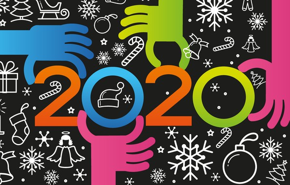 Picture snowflakes, hands, figures, New year, Christmas, New Year, decor, 2020