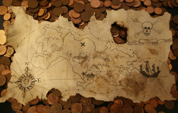 Picture map, money, coins
