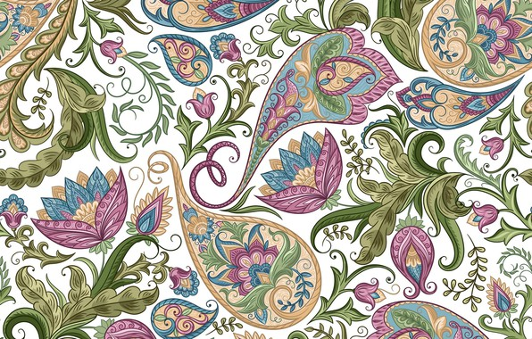Picture flowers, pattern, texture, white background, design, background, floral, seamless, Paisley, paisley