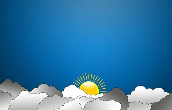 Picture The sun, The sky, Clouds, minimalism, Art, madeinkipish