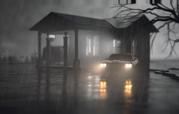 Picture Auto, Night, Machine, Rain, Lights, Car, Graphics, Night, Rain, Rendering, Black and white, Environments, Niklas …