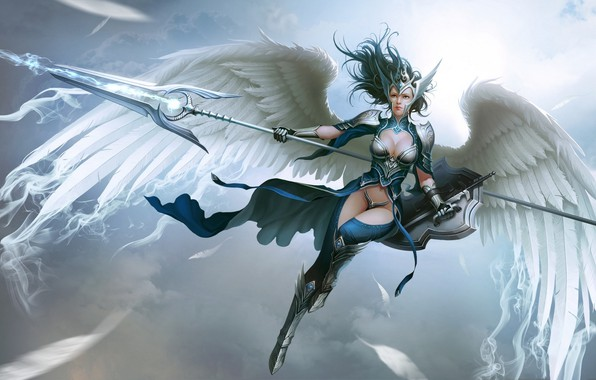 Picture Girl, Fantasy, Sky, Art, Style, Warrior, Shield, Wings, Armor, Valkyrie, Spear, Myth, Lee Hyun woo