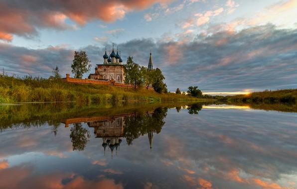 Picture landscape, nature, river, dawn, village, morning, temple, Bank, Ed Gordeev, Dunilovo, Gordeev Edward, Eduard Gordeev, …