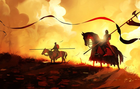 Picture Figure, Fire, Knights, Fantasy, Art, Knight, War, Concept Art, Dominik Mayer, Environments, by Dominik Mayer, …