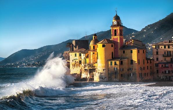 Picture waves, beach, sea, coast, italy, buildings, vacation, travel, camogli
