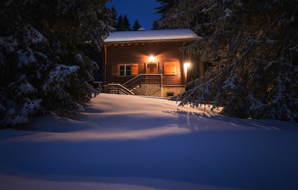Picture winter, forest, snow, house, Switzerland, ate, the snow, Switzerland, The Canton Of Grisons, Canton of …