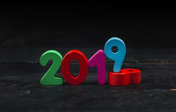 Picture background, colorful, New Year, figures, New Year, Happy, 2019