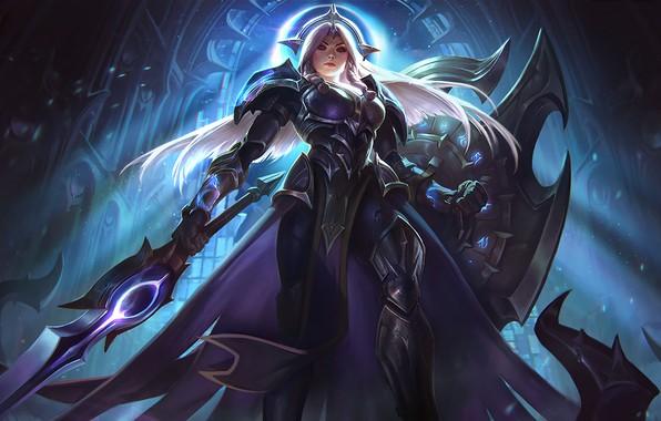 Picture girl, sword, fantasy, game, armor, weapon, League of Legends, digital art, artwork, warrior, fantasy art, …