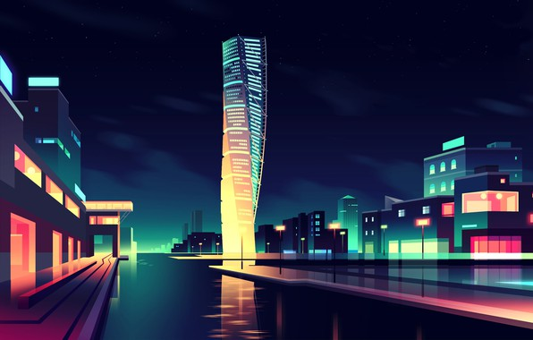 Picture Home, Minimalism, Night, Vector, The city, River, Promenade, Light, Style, Building, The building, Architecture, Art, ...