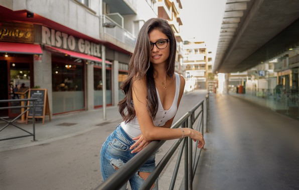 Picture street, Girl, jeans, glasses, Andrea, DAVID MAS