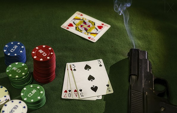 Picture card, gun, chips, gun, chips, cards, Patxi Pérez, stickman, крупье