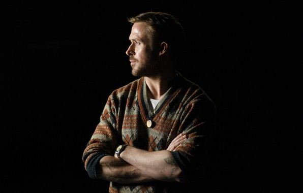 Picture look, pose, figure, tattoo, profile, actor, musician, background black, Ryan Gosling, Ryan Gosling