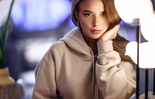 Picture look, girl, light, lights, mole, Sergey Sorokin, Luba Ivanova