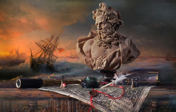 Picture style, pen, map, picture, chess, Neptune, spyglass, hourglass, bust, print, ink, Andrey Morozov, Storm over …