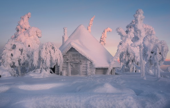 Picture winter, snow, trees, hut, the snow, house, Finland, Lapland, winter's tale