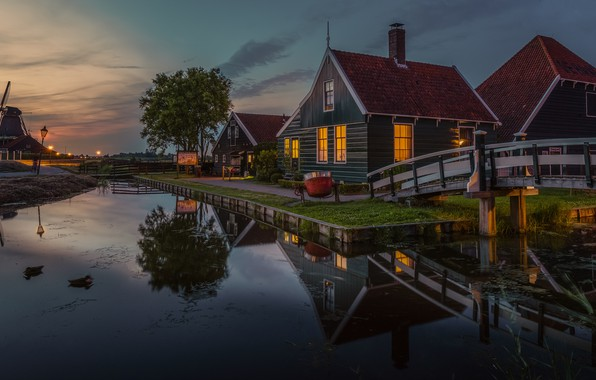 Picture water, landscape, reflection, village, home, the evening, lighting, mill, Museum, Netherlands, bridges, Zaanse Schans, The …