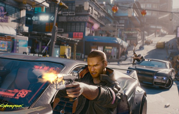 Picture city, game, weapons, chase, hero, game, cyberpunk, shootout, rpg, shooter, action, video game, Cyberpunk 2077, …