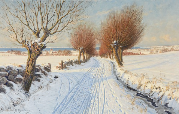 Picture Swedish artist, Swedish painter, oil on canvas, Peter Adolf Persson, Snowy alley, Snow covered alley, …