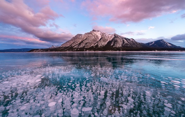 Picture winter, the sky, water, clouds, mountains, lake, reflection, bubbles, rocks, blue, shore, the slopes, tops, …