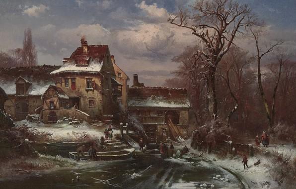 Picture 1876, German painter, German painter, oil on canvas, Hugo Veit, Hugo Veit, Winter landscape with …