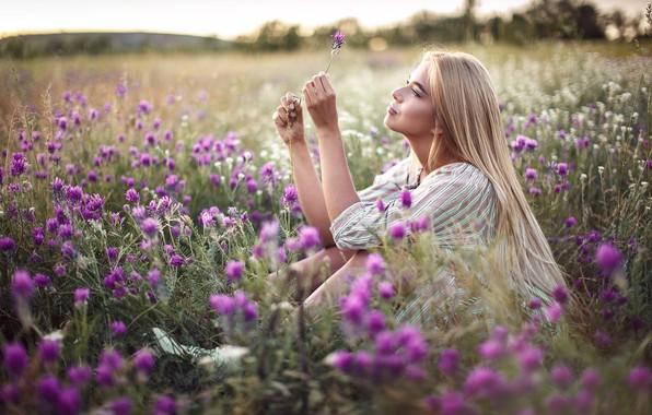 Picture field, summer, girl, flowers, nature, hair, Sergey Sorokin, Luba Ivanova