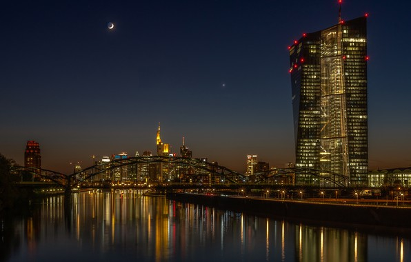 Picture the sky, night, bridge, the city, lights, reflection, the moon, building, skyscrapers, Germany, tower, architecture, …
