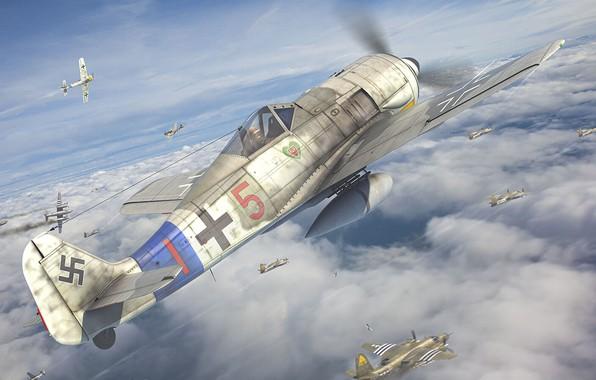 Picture Luftwaffe, fighter-monoplane, German single-seater single piston, JG54, Antonis (rOEN911) Karidis, Focke-Wulf Fw 190 Würger