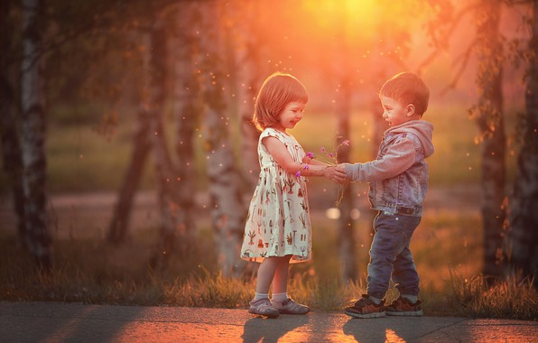 Picture trees, flowers, nature, children, the evening, boy, track, girl, kids, a couple, a bunch, bokeh, …