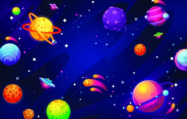 Picture space, stars, figure, graphics, planet