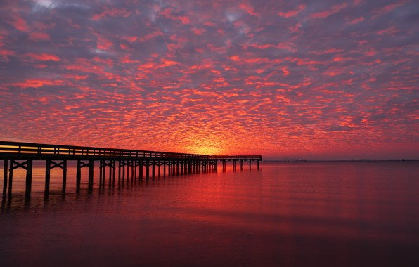 Picture the sky, clouds, sunset, river, the evening, pier, horizon, pierce, glow, United States, Virginia, King …