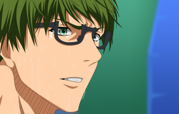 Picture face, glasses, guy, green hair, sweat, bangs, Kuroko's basketball, Midorima Shintarou, no basuan of the …