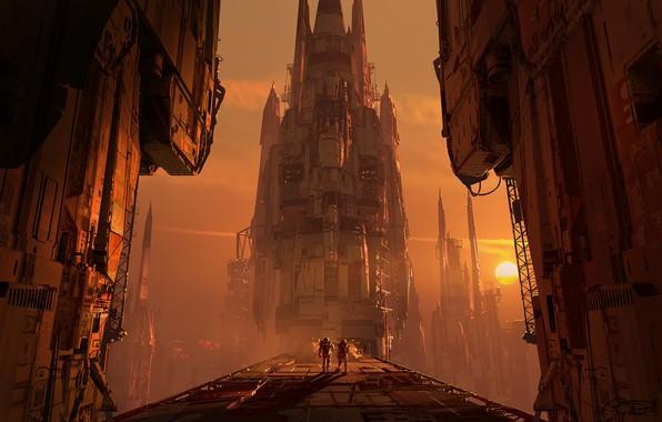 Picture bridge, fiction, planet, construction, art, sci-fi
