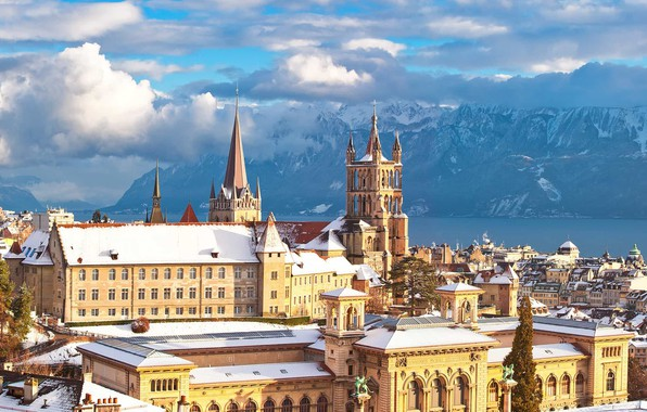 Picture mountains, lake, Switzerland, Alps, Lausanne