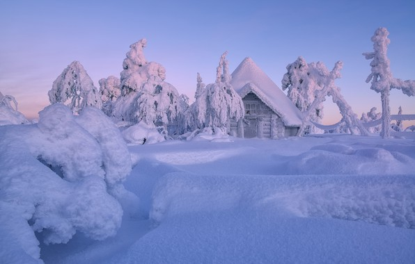 Picture winter, snow, trees, hut, the snow, house, hut, Finland, Lapland