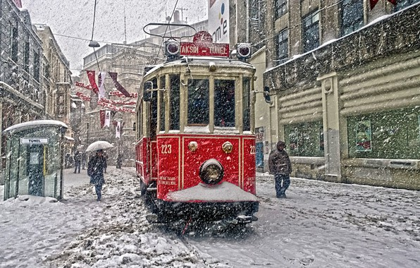 Picture City, Snowfall, Tramcar