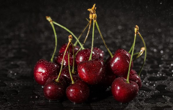 Picture water, drops, cherry, berries, the dark background, table, moisture, red, wet, cherry, water drops, ripe, …