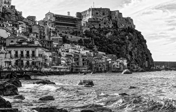Picture rock, house, sea, Italy, monochrome, village, Scilla, Calabria