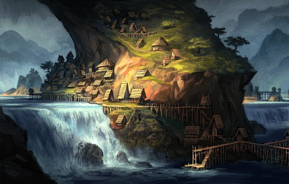 Picture mountains, river, waterfall, home, river, structure, mountains, houses, waterfall, buildings, fantasy art, a beam of …