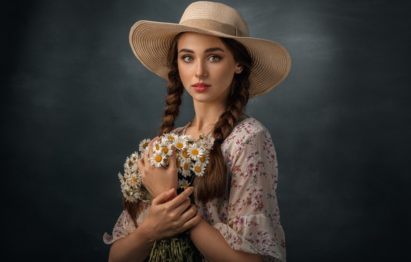 Picture girl, flowers, chamomile, bouquet, hat, makeup, brown hair, braids