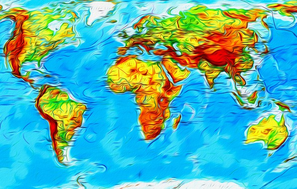 Picture abstraction, the world, figure, world map, picture, continents