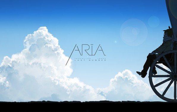 Picture girl, sky, anime, clouds, mood, Aria, wagon, wheel, artwork, anime girl, Aria - Last Number