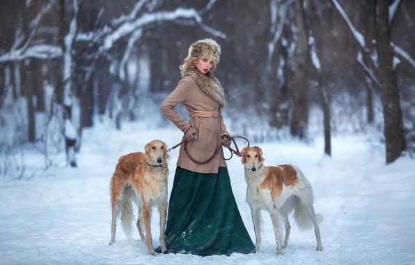 Picture winter, dogs, girl, snow, pose, Nastya, Anastasia Barmina